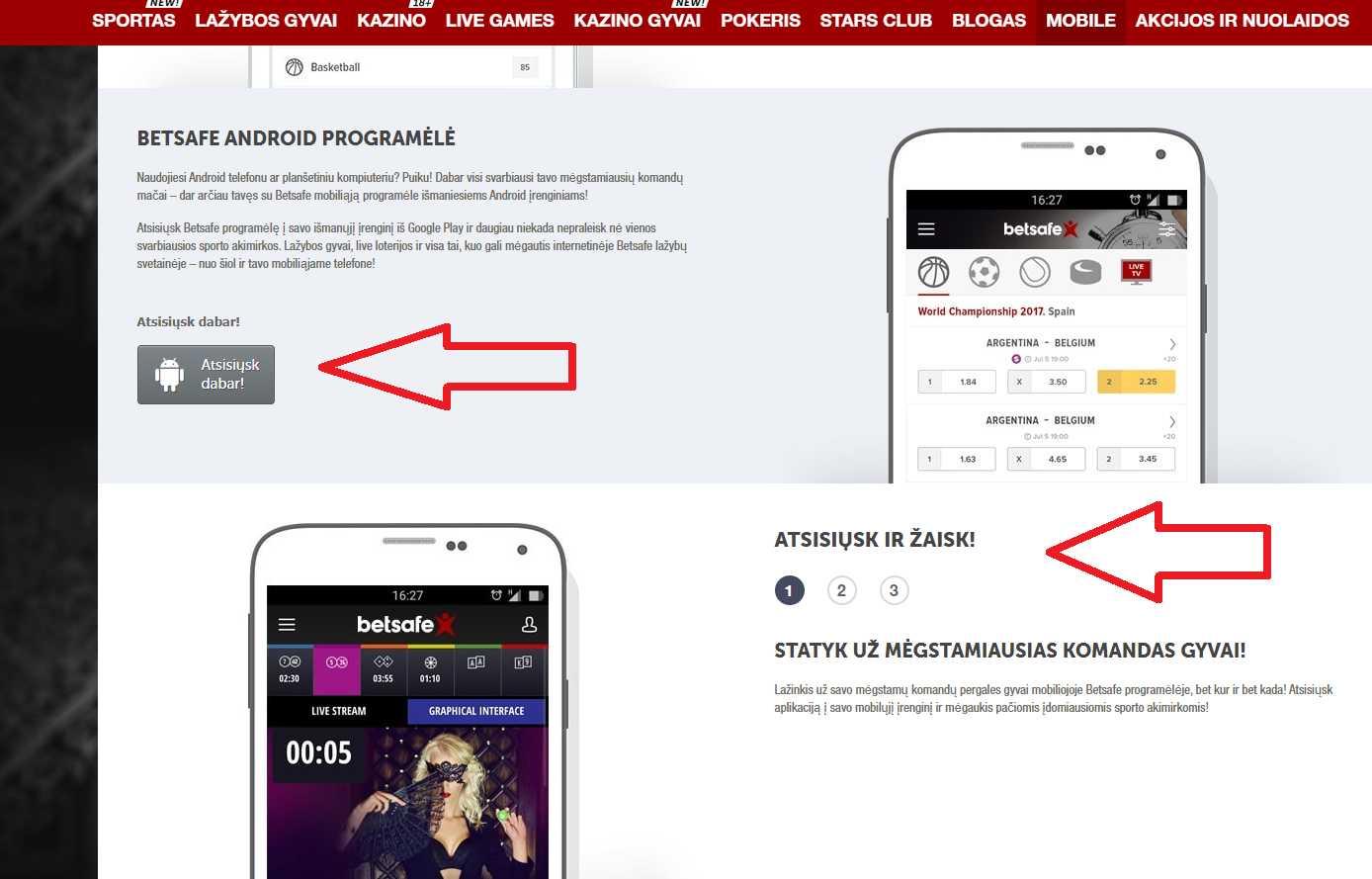 Bonusi un ienesīgas akcijas Betsafe Mobile Android lietotnē (Sportsbook)